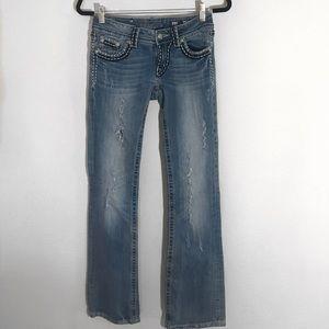 MissMe Distressed Boot Jeans - Boot Cut